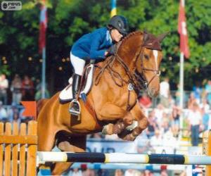 Springreiten. Der reiter und das Pferd im Sprung puzzle