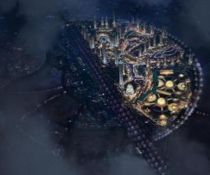 Stadt in den intergalaktischen Raum puzzle