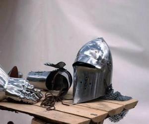 Stadt und ein Teil der Rüstung eines Ritters puzzle