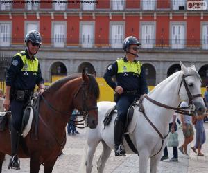 Stadtpolizei auf dem Pferderücken, Madrid puzzle