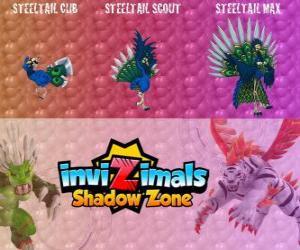 Steeltail Max. Invizimals Schattenzone. Spektakuläre Vogel, ist mit dem Schwanz eine mächtige Waffe aus Stahl Federn puzzle