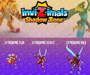 Stingwing Cub, Stingwing Scout, Stingwing Max. Invizimals Schattenzone. Die erste Invizimal von Kenichi, eine attraktive und gefährliche Insekten gefangen puzzle