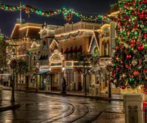 Straße dekoriert zu Weihnachten puzzle