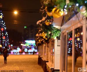 Straße verziert Weihnachten puzzle