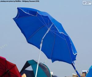 Strand Sonnenschirm blau puzzle