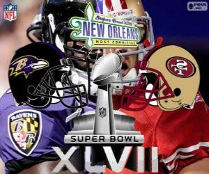 Super Bowl 2013. San Francisco 49ers vs. die Baltimore Ravens. Superdome, New Orleans puzzle