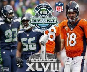 Super Bowl-2014. Seattle Seahawks Vs Denver Broncos. MetLife Stadium, New Jersey, USA, 2. Februar 2014 puzzle