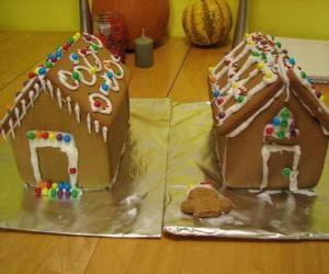Süß und schön Weihnachtszierde, zwei Lebkuchenhäuser puzzle