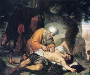 Szene aus dem Gleichnis vom barmherzigen Samariter puzzle