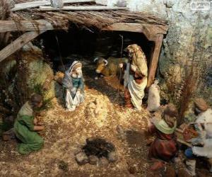 Szene des Jesus Geburt in einem stall in der nähe von Bethlehem puzzle
