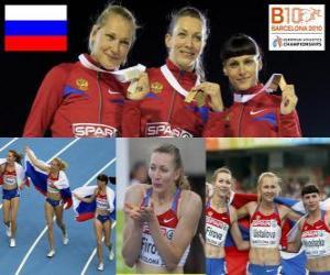 Tatiana Firova Meister im 400 m, Xenia Krivoshapka Ustalova und Antonina (2. und 3.) in die Leichtathletik-Europameisterschaft Barcelona 2010 puzzle