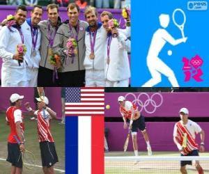 Tennis Herren Doppel Podium Doppel männlich, Bob und Mike Bryan (USA), Michael Llodra, Jo-Wilfried Tsonga und Julien Benneteau, Richard Gasquet (Frankreich) - London 2012- puzzle