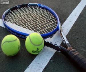 Tennisschläger und Tennisbälle puzzle