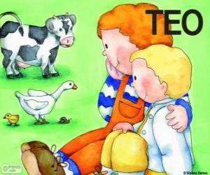 Teo und seiner Schwester Clara mit Tieren puzzle