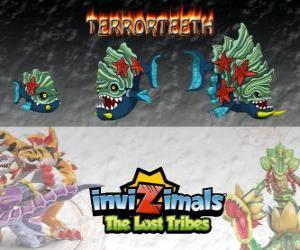 Terrorteeth, neueste Entwicklung. Invizimals Die verlorenen Stämme. Aquatische Invizimal, das frisst sehr schnell und das beißt alles puzzle