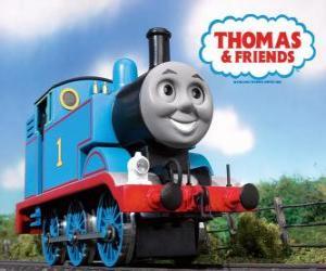 Thomas die kleine Lokomotive ist eine Dampflokomotive und zeigt die loknummer 1 puzzle