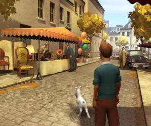 Tim mit seinem Hund Struppi auf der Straße puzzle