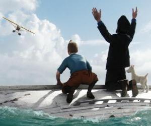 Tim und Struppi, Kapitän Haddock und Struppi auf einem Boot nach einem Schiffbruch puzzle