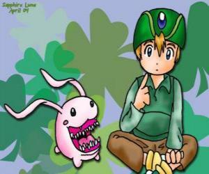 TK und seine digimon Tokomon, Takeru Takaishi ist der jüngste der Gruppe und der jüngere Bruder von Matt puzzle