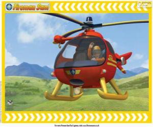 Tom Thomas mit seinem Hubschrauber Wallaby One puzzle
