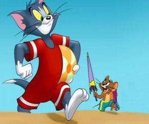 Tom und Jerry auf dem Strand puzzle