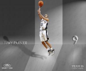 Tony Parker tauchen ein slam dunk puzzle