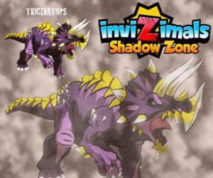 Triceratops. Invizimals Schattenzone. Invizimals Pflanzenfresser mit großer Stärke und Tapferkeit puzzle