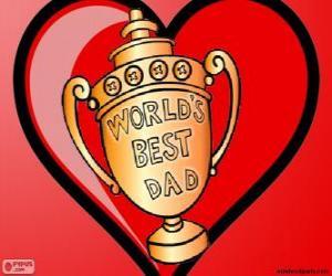 Trophäe oder Pokal für das beste Papa puzzle