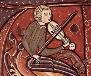 Troubadour oder Minnesänger, Dichter Singer-Songwriter oder Unterhaltung Künstler des Mittelalters in Europa puzzle