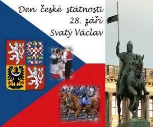 Tschechische Nationale tag. 28. September, St.-Wenzels, Patron der Tschechischen Republik puzzle