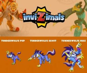 Tunderwulfe in drei phasen Tunderwulfe Pup, Tunderwulfe Scott und Tunderwulfe Max, Invizimals puzzle