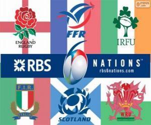 turnier den Six Nations rugby mit den Teilnehmern: Frankreich, Schottland, England, Wales, Irland und Italien puzzle