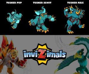 Tusker in drei phasen Tusker Pup, Tusker Scott und Tusker Max, Invizimals puzzle