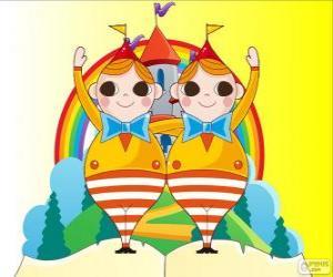 Tweedledum und Tweedledee, zwei Junge Zwillinge puzzle