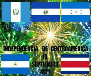 Unabhängigkeit von Mittelamerika, 15. September 1821. Gedenken an die Unabhängigkeit von Spanien in den modernen Staaten Guatemala, Honduras, El Salvador, Nicaragua und Costa Rica puzzle