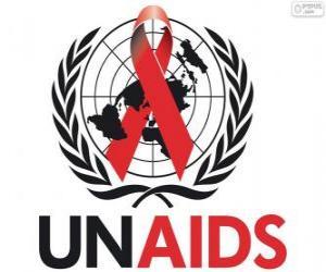 UNAIDS-Logo. Gemeinsame Programm der Vereinten Nationen zu HIV / AIDS puzzle