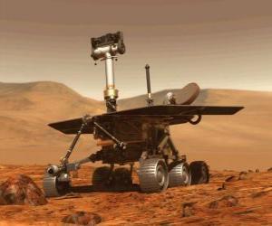 Unbemannte Raumfahrzeug der Forschung auf der Mondoberfläche puzzle