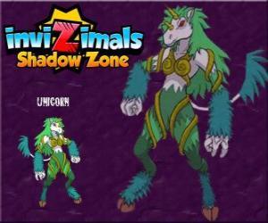 Unicorn. Invizimals Schattenzone. Timid Kreaturen sind Einhörner sehr schwer zu finden puzzle