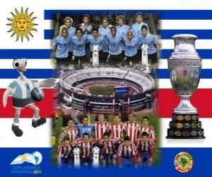 Uruguay vs Paraguay. Finale Copa America Argentinien 2011. 24 Juli, Stadion Monumental in Buenos Aires puzzle
