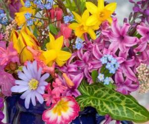 Variierte frühlingblumen puzzle