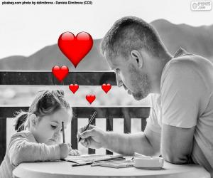 Vater malerei mit seiner Tochter puzzle