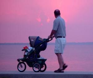 Vater mit seinem Sohn am Meer spazieren puzzle