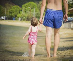 Vater und Tochter am Strand puzzle