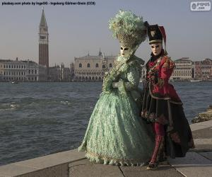 Venedig Karneval Paar puzzle