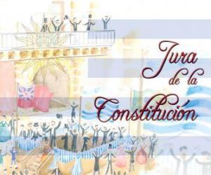 Vereidigung der Verfassung von Uruguay. Jedes Jahr im Juli 18 ist der Eid des ersten nationalen Verfassung von 1830 gefeiert puzzle