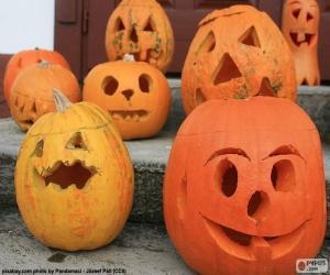 Verschiedene Halloween-Kürbisse puzzle
