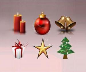 Verschiedene Weihnachtsschmuck puzzle