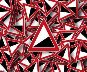Vertikale Zeichen steilen Hügel puzzle