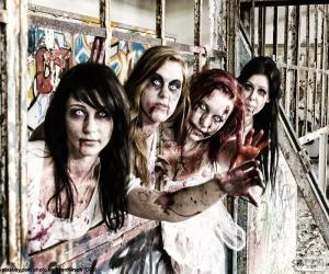 Vier Zombies Halloween puzzle