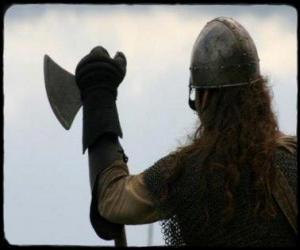 Viking beobachten mit einer Axt bewaffneten puzzle